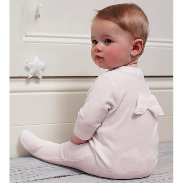 MARIE-CHANTAL PINK VELOUR BABYGROW WITH ANGEL WINGS