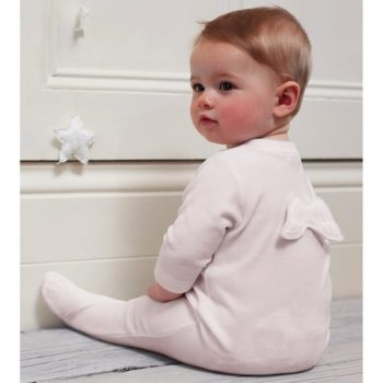 MARIE-CHANTAL WHITE VELOUR BABYGROW WITH ANGEL WINGS