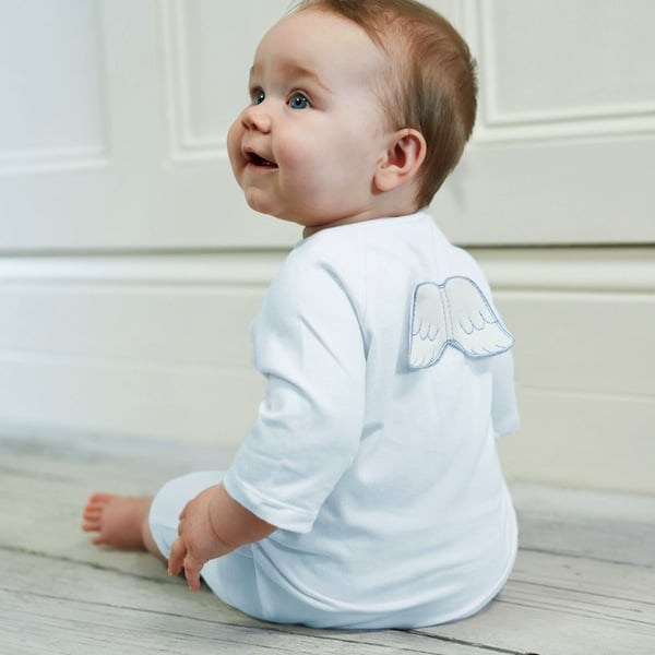 MARIE-CHANTAL BLUE VELOUR BABYGROW WITH ANGEL WINGS