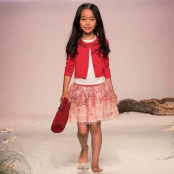 Miss Blumarine Coral Pink Silk & Tulle Skirt