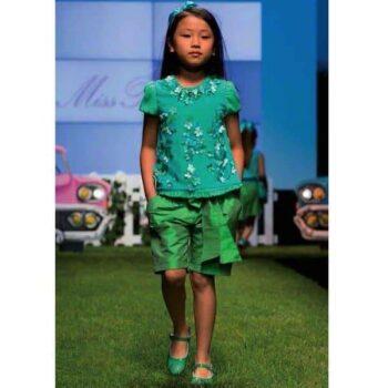 Miss Blumarine Girls Green Silk Shorts
