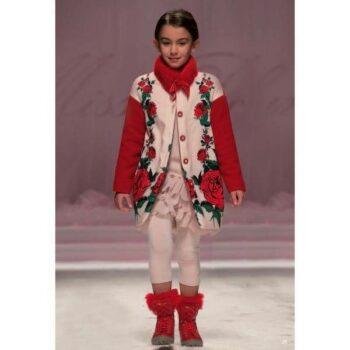 Miss Blumarine Girls Pink Floral Padded Coat