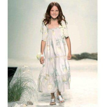 MISS-BLUMARINE-Grey-Cotton-Maxi-Dress-with-Silk-Bow
