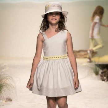 Miss Blumarine Grey Pin Striped Dress with Yellow Roses