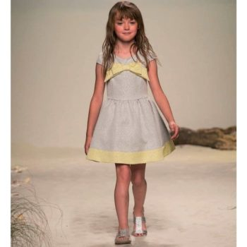 MISS BLUMARINE GREY & YELLOW BROCADE DRESS