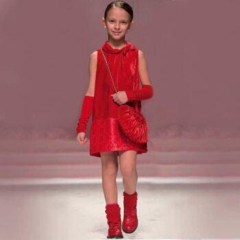 Miss Blumarine Girls Red Velvet Dress
