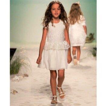 MISS BLUMARINE WHITE LACE & CHIFFON DRESS