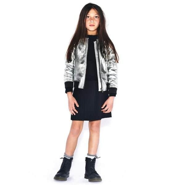 Molo Girls Metallic Silver Leather Heaven Jacket
