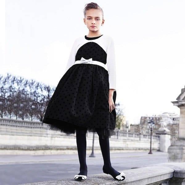 Monnalisa Black Polka Dot Taffeta Dress