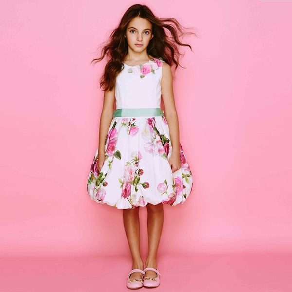 Monnalisa Floral Dress Rose Corsage
