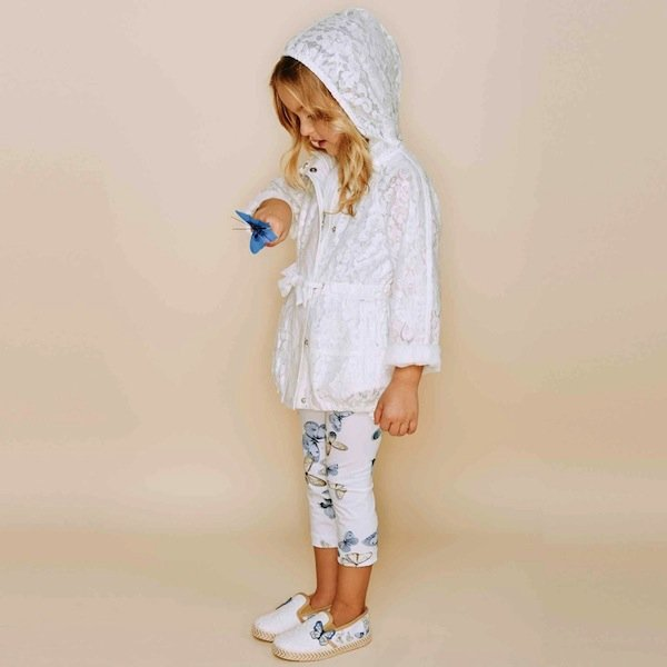 Monnalisa Girls Ivory Lace Coat