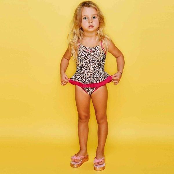 Monnalisa Girls Leopard Swimsuit with Gems