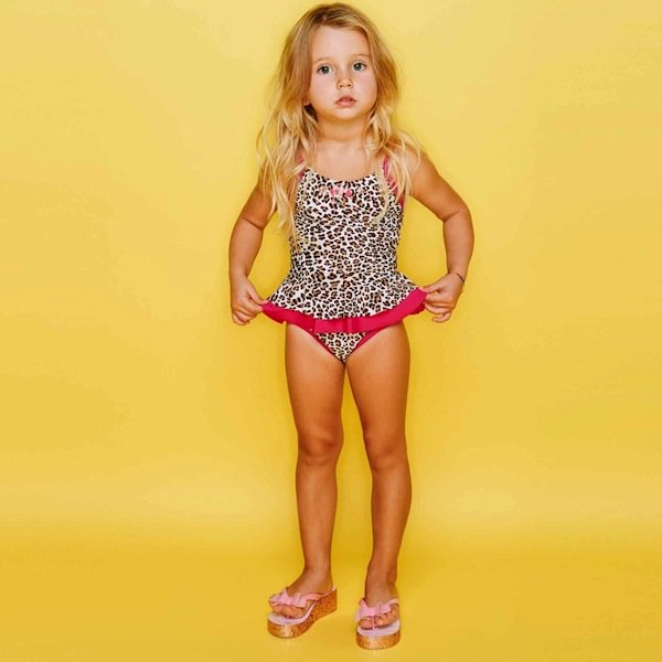 Monnalisa Girls Leopard Swimsuit with Gems