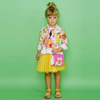 Monnalisa Girls White Floral Cotton Jacket