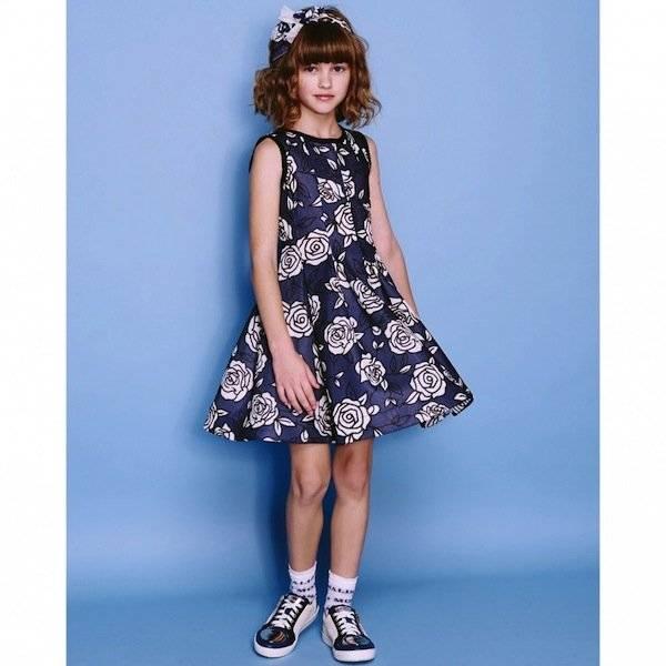 Monnalisa Blue Floral Print Neoprene Style Dress