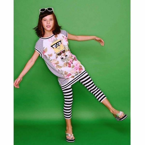 Monnalisa Blue & White Stripe Jersey Leggings