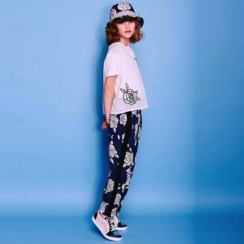 Monnalisa Girls Blue Floral Print Trousers