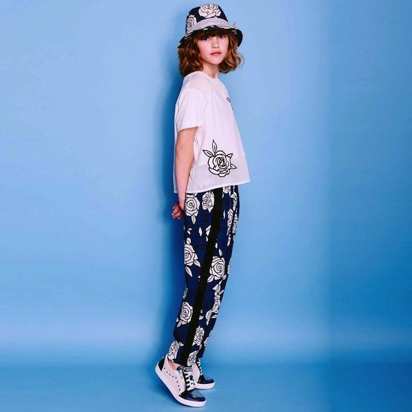 Monnalisa Girls Blue Floral Print Trousers