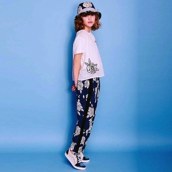 shop look MONNALISA JAKIOO Girls Blue Floral Print Trousers