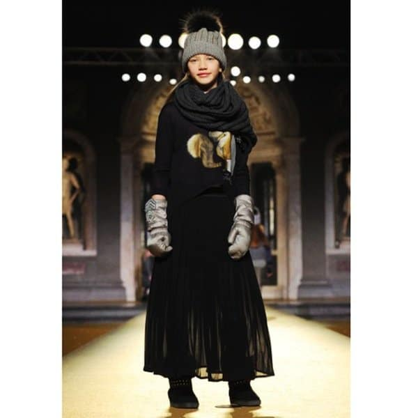 shop look MONNALISA JAKIOO Navy Blue Long Chiffon Skirt