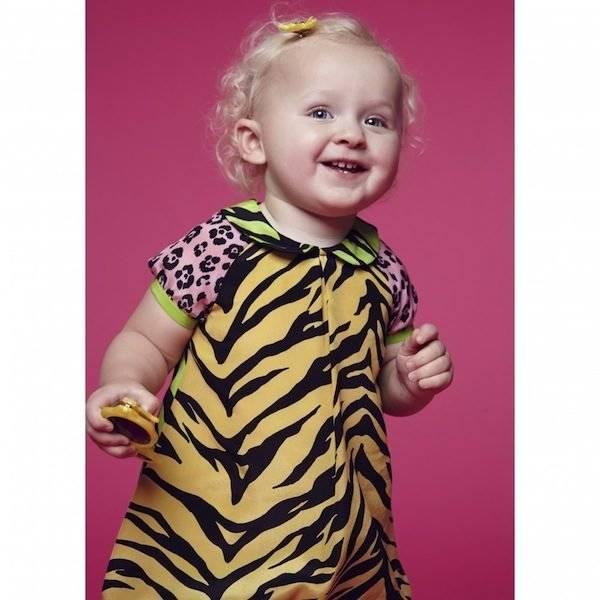 Moschino Baby Girls Tiger & Leopard Silk Dress & Knickers