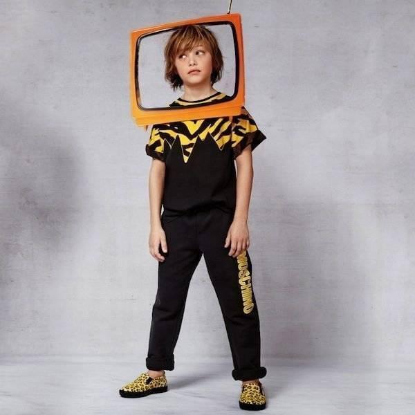 Moschino Black Cotton Jersey Tiger T-Shirt