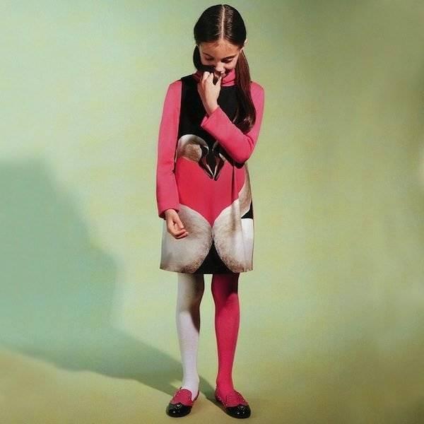 Moschino Pink Cotton Swan Dress