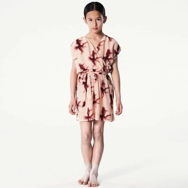 PALE-CLOUD-Pink-Goldfish-Print-Silk-Dress
