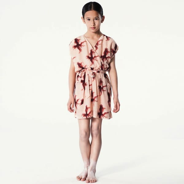 PALE-CLOUD-Pink-Goldfish-Print-Silk-Dress