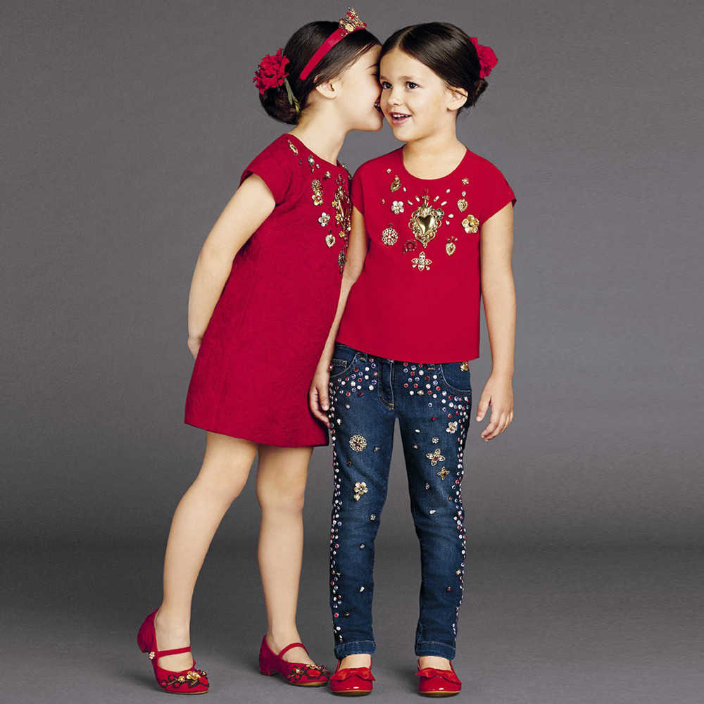 shop look Red Silk 'Sacred Heart' Dress with Gems