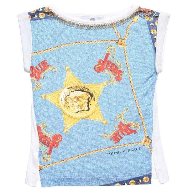 Young Versace Girls 'Versace Blue Jeans' T-Shirt