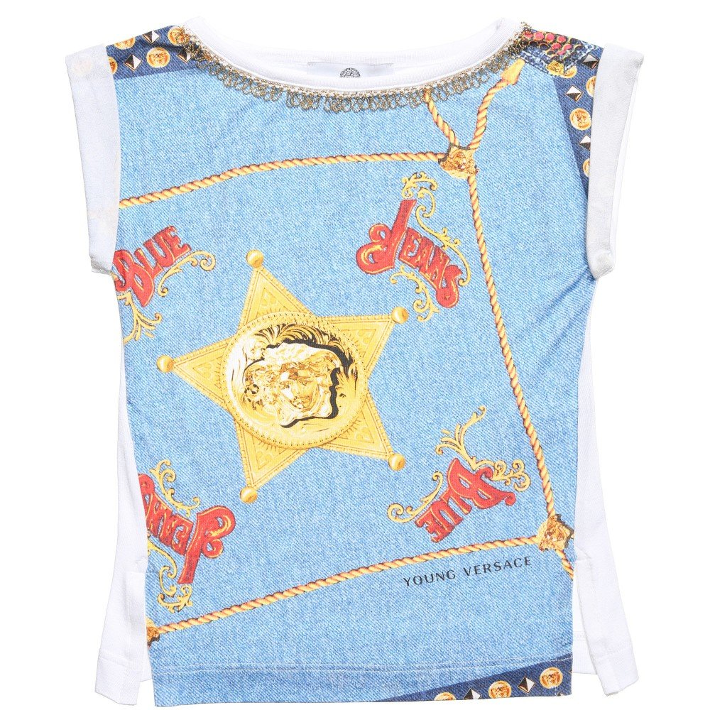 Young Versace Girls 'Versace Blue Jeans' T-Shirt