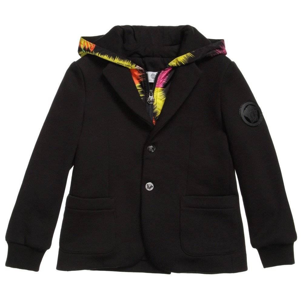 Young Versace Black Cotton Jersey Blazer