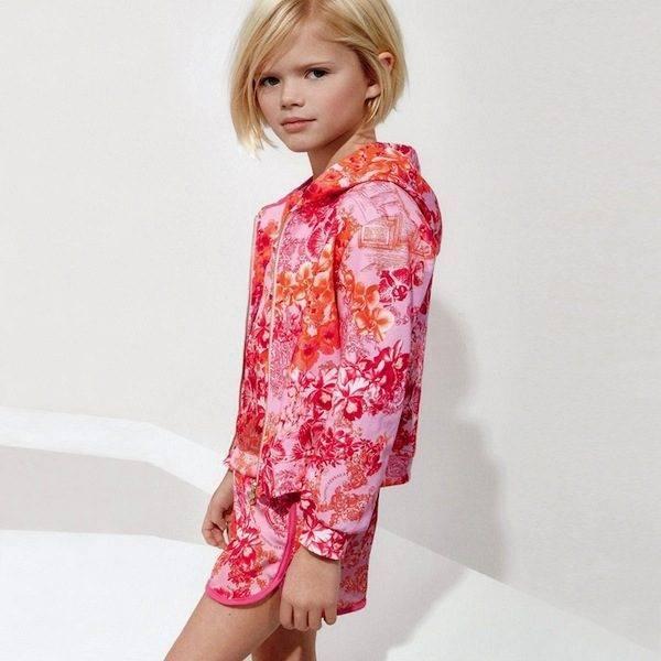 shop look YOUNG VERSACE Girls Fuchsia Pink Floral Zip-Up Top