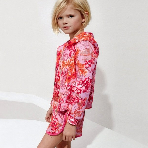 shop look YOUNG VERSACE Girls Fuchsia Pink Floral Zip-Up Top