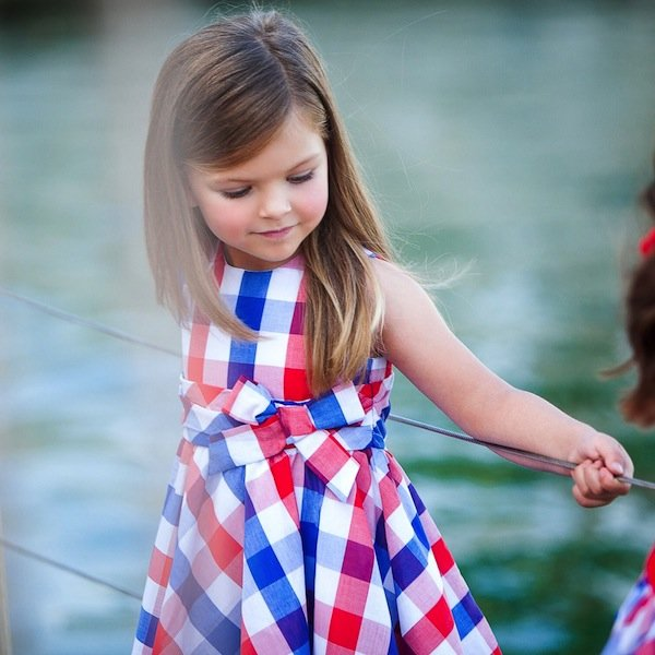 shop look TUTTO PICCOLO Girls Red & Blue Check Cotton Dress
