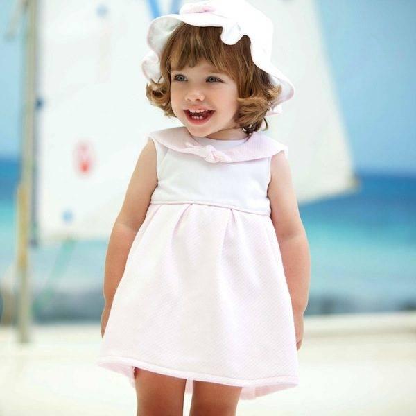 shop look TUTTO PICCOLO Pink Jacquard Sailor Dress