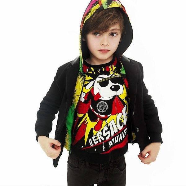 shop look YOUNG VERSACE Black Cotton Jersey Blazer