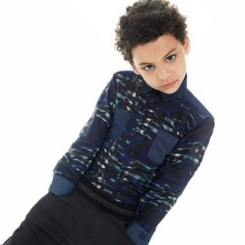shop look YOUNG VERSACE Boys Blue Check & Camouflage Shirt