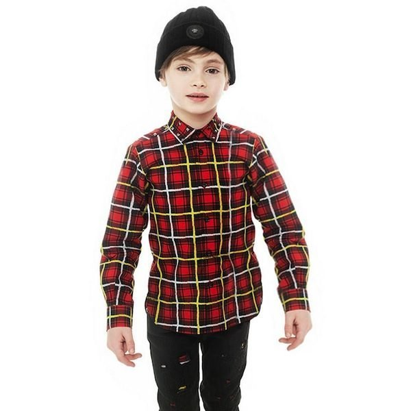 shop look YOUNG VERSACE Boys Red Tartan Cotton Shirt