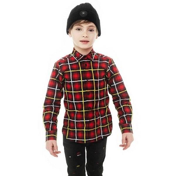shop look YOUNG VERSACE Boys Red Tartan Cotton Shirt