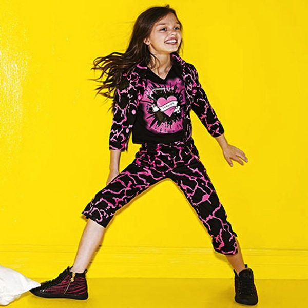 shop look YOUNG VERSACE Girls Black and Pink Cropped Cotton Trousers