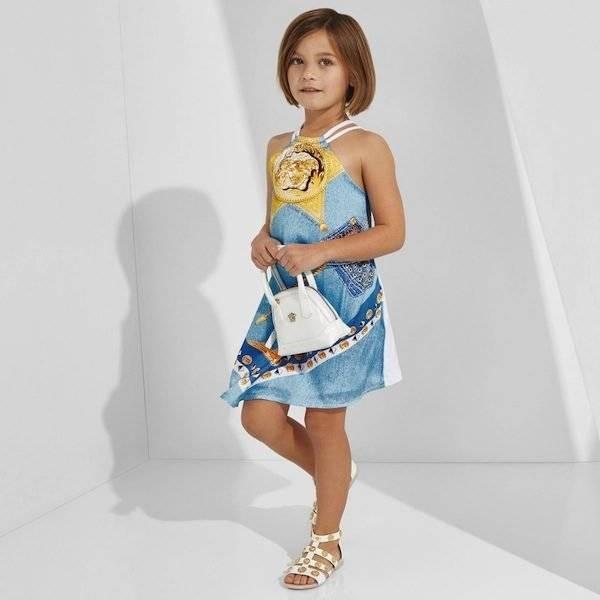 shop look YOUNG VERSACE Halterneck Gold Medusa & Denim Print Dress