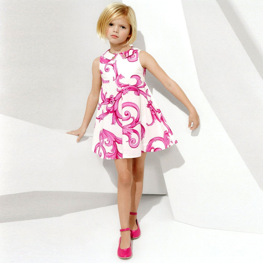 Young Versace White Cotton Dress With Pink Baroque