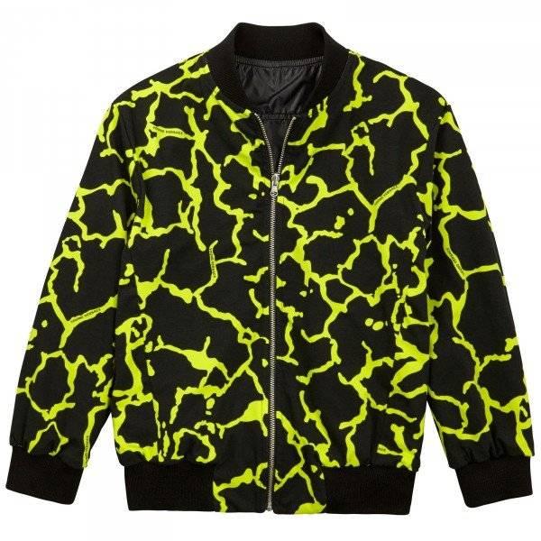 Young Versace Black & Gold Satin Bomber Jacket