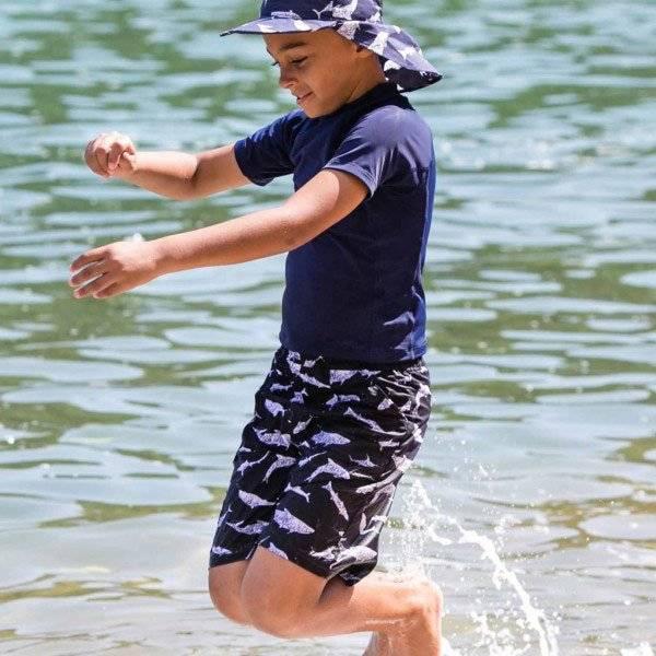 Mitty James Boys Blue Shark Swim Shorts