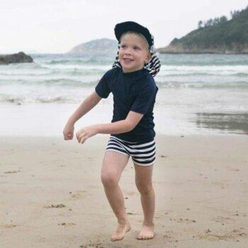 Mitty James Boys Stripe Blue Swim Shorts