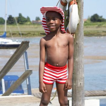 Mitty James Boys Stripe Red Swim Shorts