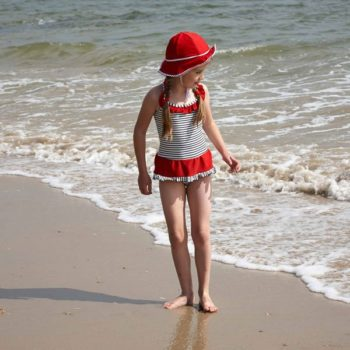 Mitty James Navy Blue Stripe & Red Frill Skirt Swimsuit
