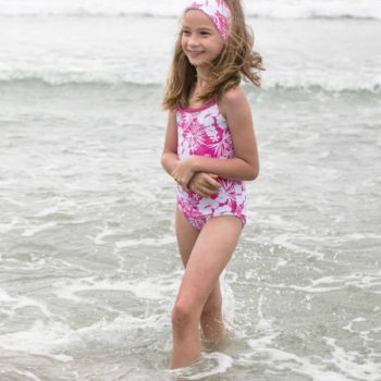 Mitty James Pink Floral Hibiscus Print Hawaii Swimsuit
